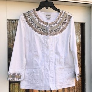 ❤️CHICO'S White Cotton Silver Medallion Jacket 0